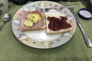 Philippines English schools. Breakfast. Ham sandwich