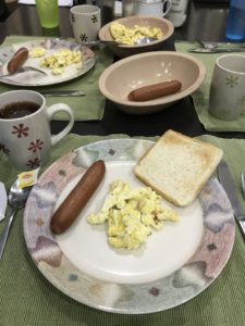 Sausage and egg for breakfast while studying English in Cebu