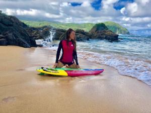 Puraran English and Surfing school surfing student